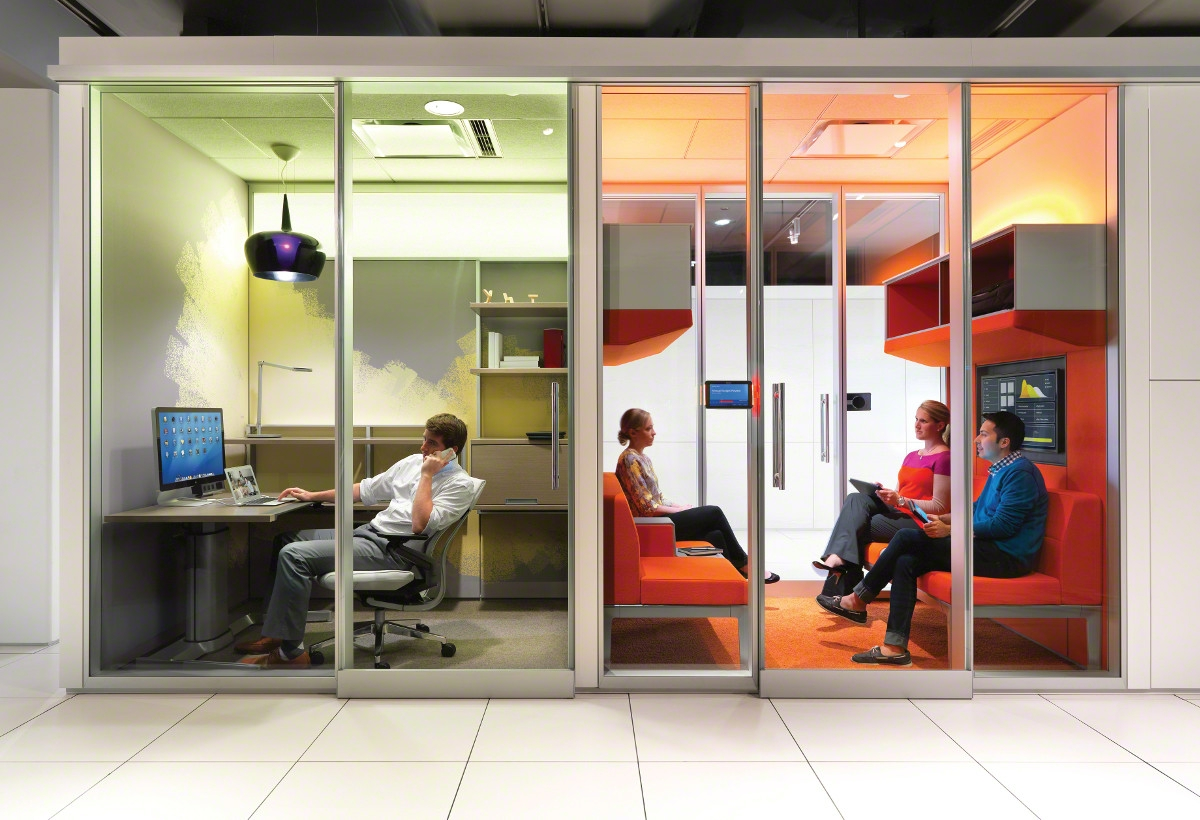 Demountable walls in meeting room and private office form