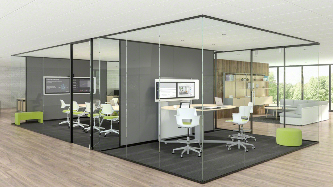 """A Steelcase Lite Scale glazed meeting room solution. Lite Scale Glazing is a ½"""" glass solution with a minimalist recessive design meant to integrate with our other modular wall systems along with traditional construction."""