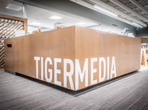 Red Oak Schools - School Library Front Desk with Tiger Media decal